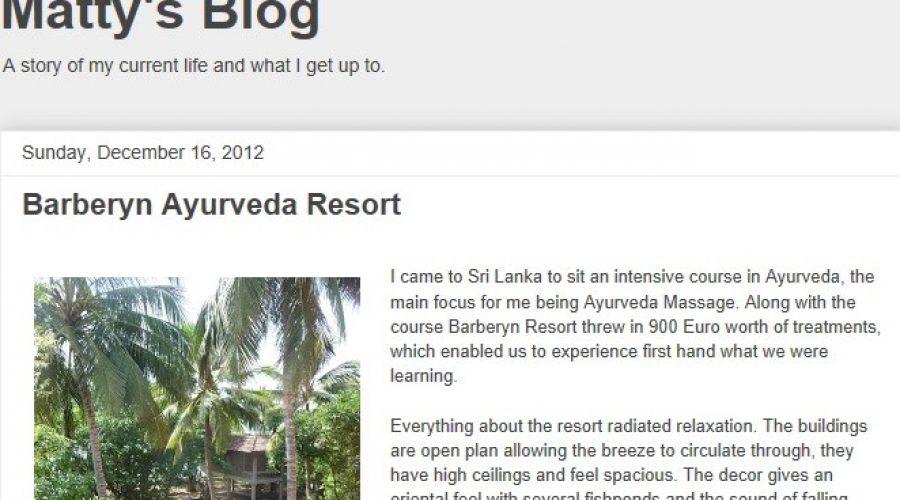 Matty's Blog : December 2012 Barberyn Ayurveda Resort