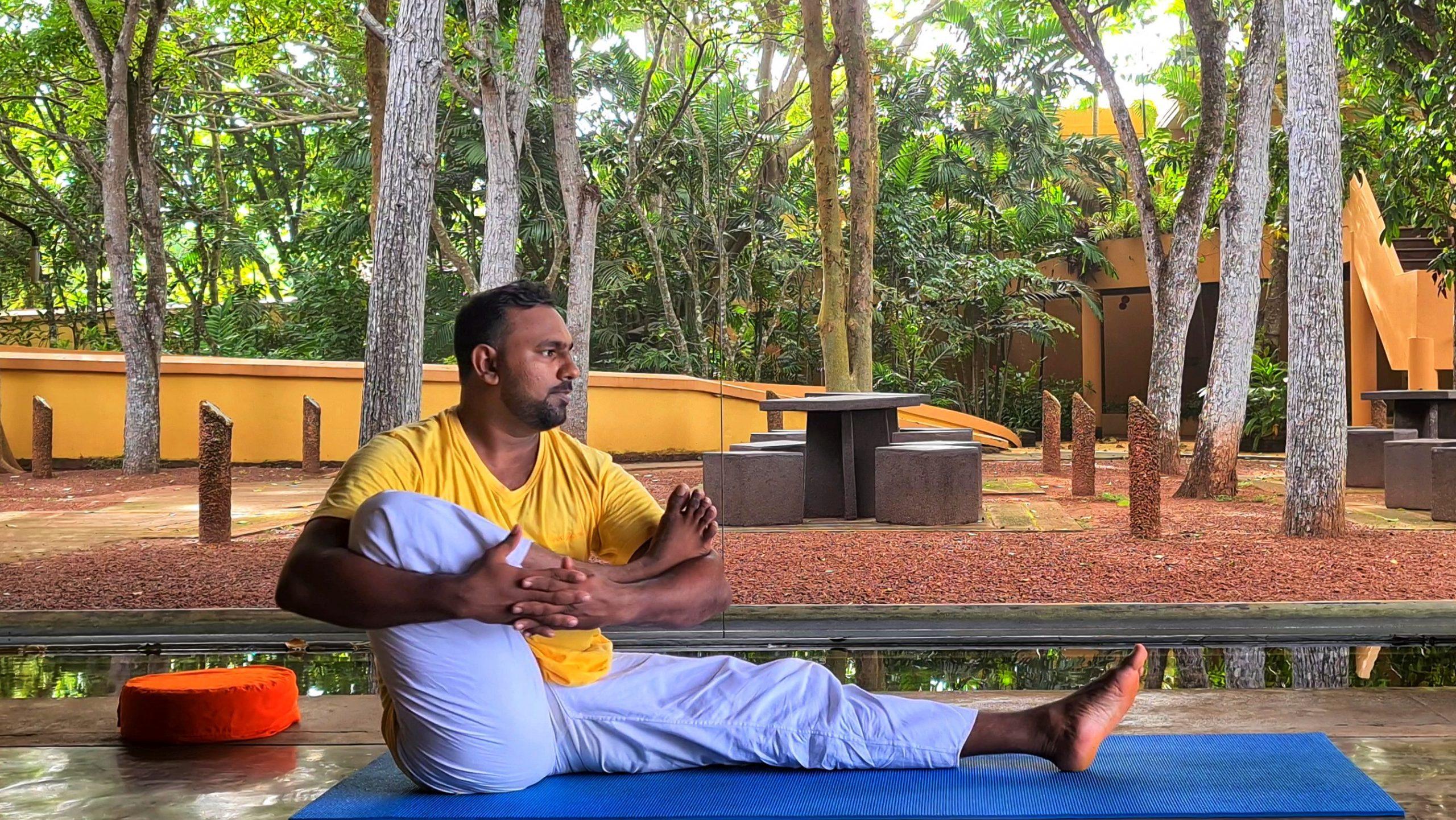 Yoga Instructor at Barberyn Demonstrating Yoga Asana